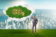 O conceito ecológico das emissões de gases de efeito estufa foto de stock