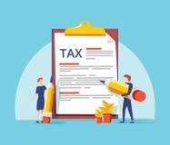 O conceito em linha da ilustração do vetor do formulário de imposto, formulário de imposto de enchimento dos povos, pode usar-se  ilustração do vetor