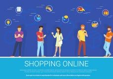 O conceito em linha de compra vector a ilustração do grupo de pessoas que usa o smartphone móvel para comprar bens Fotografia de Stock