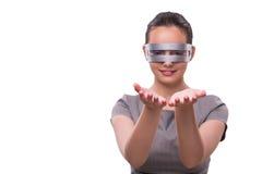 O conceito futurista com a mulher do cyber do techno isolada no branco Fotos de Stock Royalty Free