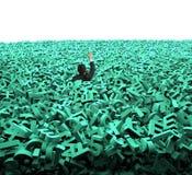 O conceito grande dos dados, homem de negócios foi inundado com os caráteres verdes enormes ilustração royalty free