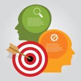 O conceito infographic da seta da placa de dardo do alvo do negócio da realização dos objetivos dirige o pensamento ilustração royalty free