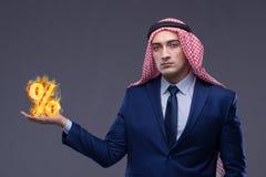 O conceito islâmico da operação bancária com árabe e sinal de por cento Imagem de Stock Royalty Free