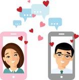 O conceito liso do amante do vetor na tela do smartphone enviou uma mensagem do amor ilustração royalty free