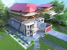 O conceito moderno das obras a casa é montado por p Fotos de Stock Royalty Free