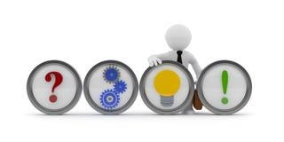 O conceito novo com um caráter pequeno, 3d das ideias rende Imagens de Stock Royalty Free
