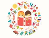 O conceito, o menino e a menina da imaginação lendo um livro objetam o voo Foto de Stock