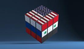 O conceito problema do conflito de Rússia, Síria, EUA resolveu o rubik ilustração 3D ilustração do vetor
