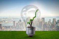 O conceito verde da energia com gráfico linear de linha verde na ampola Foto de Stock Royalty Free