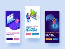 O conceito virtual do jogo baseou modelos da tela do respingo para o Web site o ilustração stock