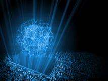 2.o concepto del ejemplo de mundo conducido tecnología del teléfono móvil Globo creado de binario con el wireframe de la red de m ilustración del vector