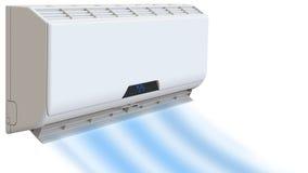 O condicionamento de ar, brisa refrigerando funde o frio 3D rendem, no fundo branco Foto de Stock Royalty Free