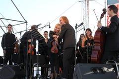 O condutor da orquestra sinfônica do mastrangelo de Fabio do museu de eremitério do estado (St Petersburg) (Italia) Imagens de Stock Royalty Free