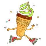 O cone bonito e do divertimento de gelado vai rolos cor-de-rosa Fotografia de Stock