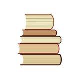O ícone da pilha de cinco livros, a biblioteca do estudo ou o símbolo liso da livraria, registram a pilha com ilustrações longas  Imagens de Stock