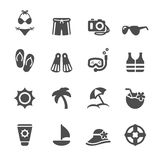 O ícone do curso e da praia do verão ajustou 3, vetor eps10 Imagem de Stock Royalty Free