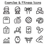 O ícone do exercício & da aptidão ajustou-se na linha estilo fina Fotos de Stock