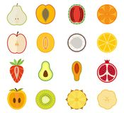 O ícone do fruto do vetor ajustou - a pera, pêssego, abricó Imagens de Stock