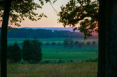 O confederado acampa seminário Ridge Sunset imagens de stock