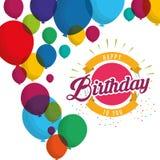 O confete da explosão do feliz aniversario balloons o cartão Fotografia de Stock Royalty Free