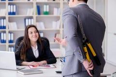 O conflito do escritório entre o homem e a mulher Imagem de Stock
