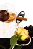 O conhaque, vinho e levantou-se Imagem de Stock Royalty Free