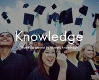 O conhecimento aprende o conceito do gráfico dos povos da educação imagem de stock