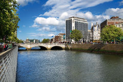 O'Connell Bridge over the river Liffey in Dublin City Centre Royalty Free Stock Photo