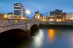 O'Connell street bridge in Dublin. At night, Ireland Stock Image