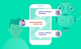 O conselheiro de Robo ajuda seu cliente, conversando com ele através do smartphone ilustração royalty free