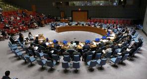 O Conselho de segurança 7760 United Nations de encontro foto de stock