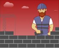 O construtor coloca tijolos Fotografia de Stock Royalty Free