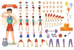 O construtor dos desenhos animados do vetor do desportista do atleta de partes do corpo do caráter do homem e de poses do treinam ilustração stock