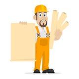 O construtor guarda a folha de papel limpa Imagens de Stock Royalty Free
