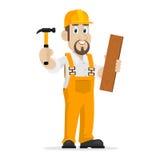 O construtor guarda o martelo e a placa de madeira Fotografia de Stock