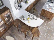 O contador da barra no estilo do sótão da cozinha Foto de Stock Royalty Free
