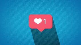 O contador vermelho do coração dos meios sociais, mostra gostos ao longo do tempo em um fundo branco ilustração stock