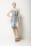 O contemporâneo veste a coleção. Mulher no vestido da luz da mola com Grey Streaks. Fôrma Fotos de Stock