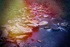 O conto de fadas lindo gosta da cachoeira da fantasia em Forest Woods secreto mágico imagem de stock