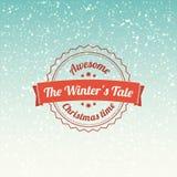 O conto dos invernos - crachá e etiqueta do Natal Fundo dos flocos de neve ilustração do vetor