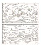 O contorno ajustou-se com ilustrações de seascapes do vitral, de navio de navigação e do farol na baía rochosa no fundo do mar ilustração do vetor