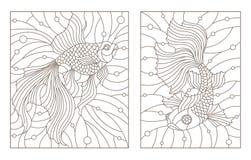 O contorno ajustou-se com ilustrações do vidro colorido Windows com peixe dourado, contornos escuros em um fundo branco Fotos de Stock