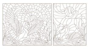 O contorno ajustou-se com ilustrações do vitral com cisnes e lótus em uma lagoa em um céu e em um sol do fundo ilustração stock