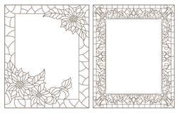 O contorno ajustou-se com ilustrações do vitral com estrutura floral, esboços escuros no fundo branco ilustração royalty free