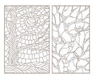 O contorno ajustou-se com ilustrações do vitral Windows com árvores e pássaros, um esboço escuro em um fundo branco ilustração do vetor