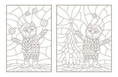 O contorno ajustou-se com ilustrações do vitral Windows com gatos do Natal, esboços escuros em um fundo claro Imagens de Stock