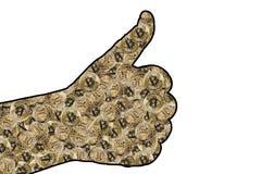 O contorno da mão com um gesto todo é bem Dentro do contorno dos bitcoins imagens de stock