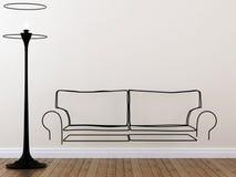 O contorno do sofá e da lâmpada de assoalho Foto de Stock Royalty Free