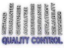 o controle da qualidade da imagem 3d emite o fundo da nuvem da palavra do conceito Imagem de Stock Royalty Free