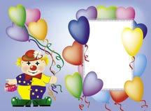 O convite-cartão com palhaço Fotos de Stock Royalty Free